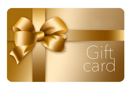 A gold gift card with a gold bow and ribbon is pictured here isolated on the background. This is an illustration.