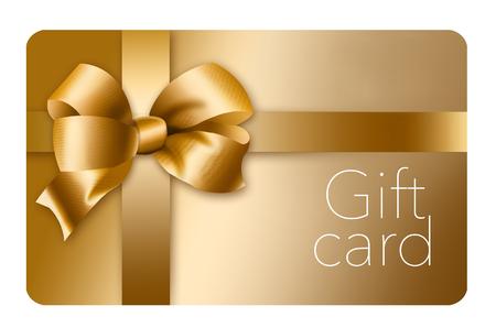 Une carte-cadeau en or avec un nœud et un ruban en or est représentée ici isolée sur l'arrière-plan. Ceci est une illustration.