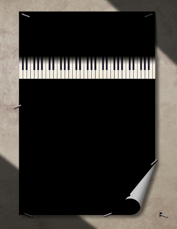 A piano keyboard is seen in black and white in dramatic light. This is an illustration.