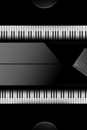 Back to back pianos seen from above are lined up for a duet performance in this striking image. This is an illustration. Banque d'images - 115956148
