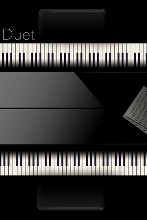 Back to back pianos seen from above are lined up for a duet performance in this striking image. This is an illustration. Stock Photo
