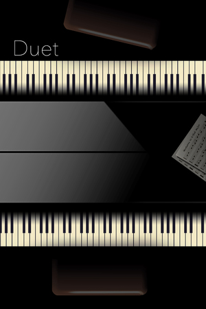 Back to back pianos seen from above are lined up for a duet performance in this striking image. This is an illustration. Banco de Imagens