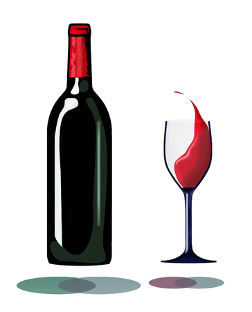 A bottle and a glass of splashing wine hover inches above their own shadows in this interesting take on red wine. This is an illustration. Stock fotó - 115956823