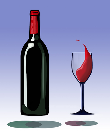 A bottle and a glass of splashing wine hover inches above their own shadows in this interesting take on red wine. This is an illustration.