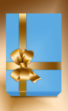 Here is a gift box design that includes a gold bow and ribbon. This is an illustration.