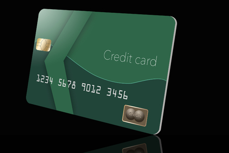 Here is a mock, generic green credit card isolated on the background. This is an illustration.