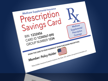 Here is a mock, generic Medicare prescription supplemental insurance card. This is an illustration. Фото со стока