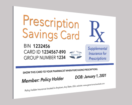 Here is a mock, generic prescription supplemental insurance card. This is an illustration.