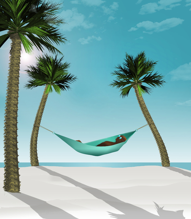 Here is a 3-D render illustration of a man lying in a hammock strung between two small palm trees on a tropical beach with white sand. This is an illustration.