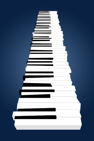 A piano keyboard levitates above a surface in this image. This is an illustration.