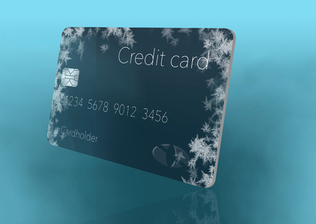 Frost covered credit cards illustrate putting a credit freeze on a credit report. This is an illustration. Imagens - 115958393