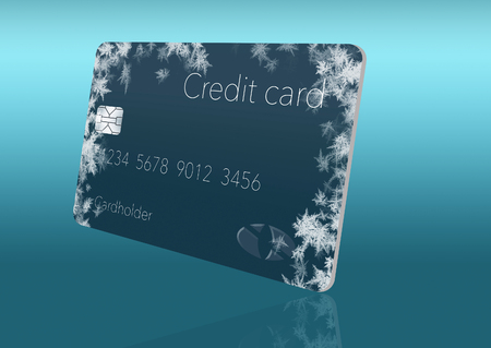 Frost covered credit cards illustrate putting a credit freeze on a credit report. This is an illustration. Imagens - 115958426