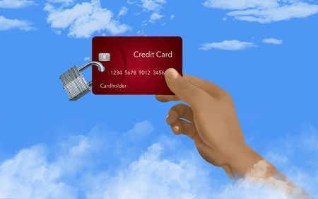 Security of your financial information in the cloud is the subject of this illustration of a credit card with padlock in the sky above the clouds. A hand holds the credit card. This is an illustration.
