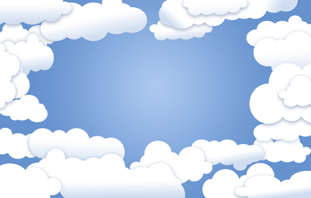 White fluffy clouds surround an opening that reveals clear blue sky where graphic elements or text may be placed.  This is an illustration.