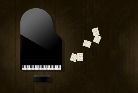 A black grand piano reflecting soft highlights is seen from above on an aged and distressed wooden stage floor. Keyboard gleams from the surrounding dark tones.  This is an illustration. Banque d'images - 115959273