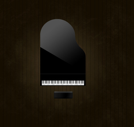 A black grand piano reflecting soft highlights is seen from above on an aged and distressed wooden stage floor. Keyboard gleams from the surrounding dark tones.  This is an illustration. Banque d'images - 115959294