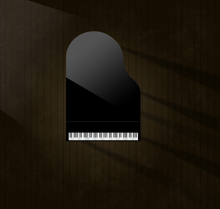 A black grand piano reflecting soft highlights is seen from above on an aged and distressed wooden stage floor. Keyboard gleams from the surrounding dark tones.  This is an illustration.