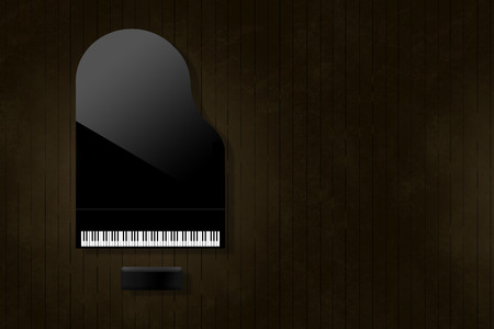 A black grand piano reflecting soft highlights is seen from above on an aged and distressed wooden stage floor. Keyboard gleams from the surrounding dark tones.  This is an illustration. Banque d'images - 115959296