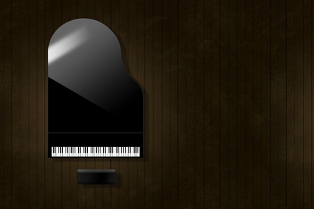 A black grand piano reflecting soft highlights is seen from above on an aged and distressed wooden stage floor. Keyboard gleams from the surrounding dark tones.  This is an illustration. Banque d'images - 115959297