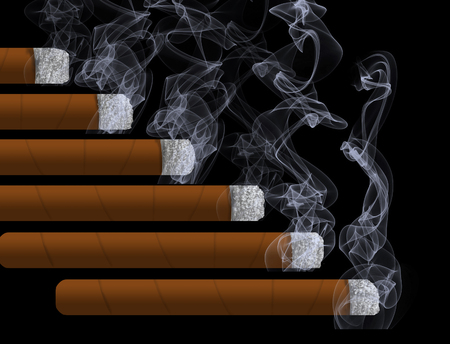 Second hand smoke is the topic of this illustration with smoke roiling out of cigars with an area for text included. This is an illustration. Imagens