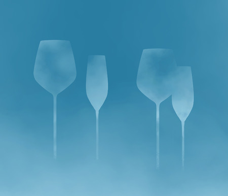 Stemware, glassware with long stems is the subject of this abstract background image. This is an illustration.