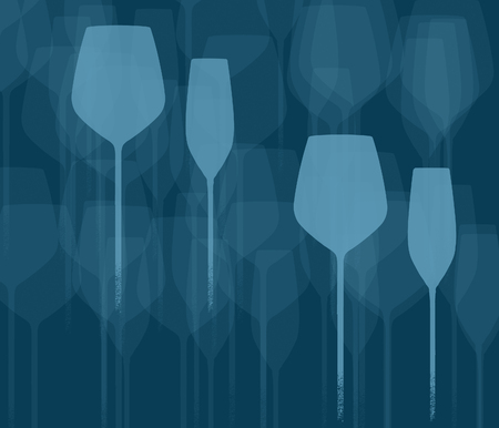 Stemware, wine and champagne glasses are seen in a background design. This is an illustration.