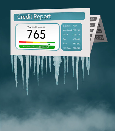 A credit freeze, or freeze on your credit report is represented with icicles and snow on a mock credit report isolated on the background. It is an illustration.