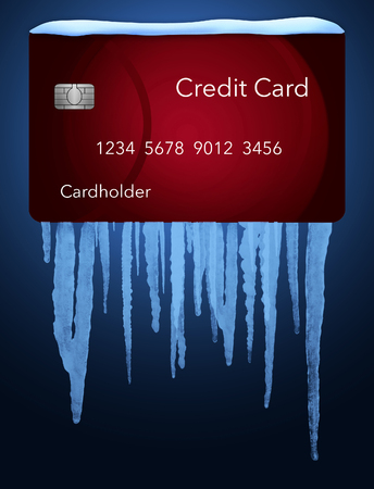 A credit freeze, or freeze on your credit report is represented with icicles and snow on a mock credit card solated on the background. It is an illustration. Stock Photo