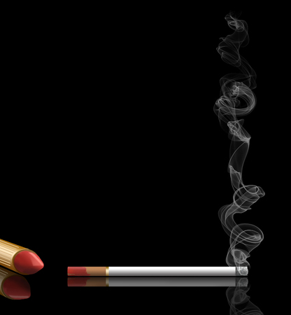 The topic of women who smoke is illustrated with a burning cigarette that has red lipstick smudged on the filter.  It is an illustration.