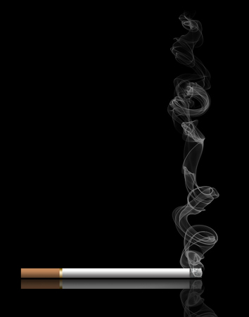 Second hand tobacco smoke is the subject of this smoke filled illustration of burning tobacco products. It is an illustration.