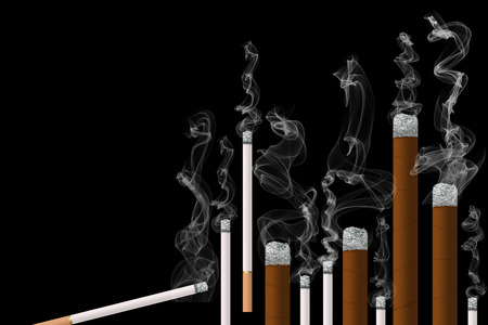 Second hand tobacco smoke is the subject of this smoke filled illustration of burning tobacco products. It is an illustration. Foto de archivo - 115960342