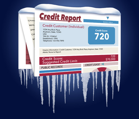 An icy, snow covered credit report in a snowstorm illustrates the idea of freezing your credit report. This is a credit freeze and this is an illustration.