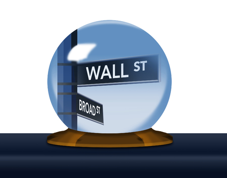 A Wall Street, street sign comes into focus inside a fortune teller's crystal ball in this image about the stock market. This is an illustration. Stock Illustration - 115114868