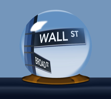 A Wall Street, street sign comes into focus inside a fortune tellers crystal ball in this image about the stock market. This is an illustration.