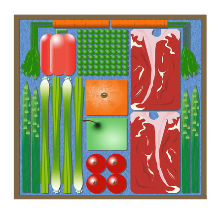 Here is an illustration of pre-packaged cook at home meal kits that are delivered to. your door. It includes steaks, peas, carrots, orange, apple, asparagus, bell pepper & onion. Square meal.