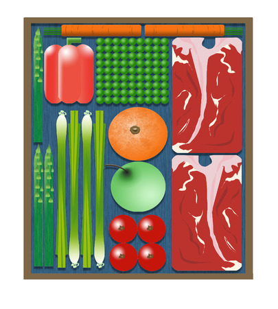Here is an illustration of pre-packaged cook at home meal kits that are delivered to. your door. It includes steaks, peas, carrots, orange, apple, asparagus, bell pepper & onion. Square meal. Фото со стока - 115115006
