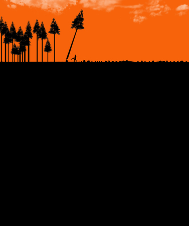 Clear cutting forests, use or abuse of natural resources is the topic of this illustration. Silhouetted trees, one being cut down are pictured next to numerous tree stumps. This is an illustration. Stockfoto
