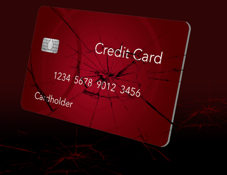 Here is a credit card that looks like broken glass and can be used to illustrate many topics related to personal credit concerns. This is an illustration.