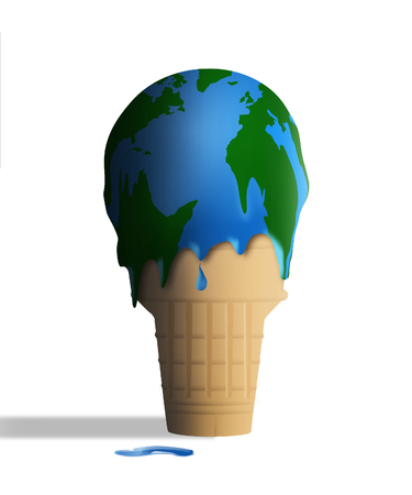 Global warming is illustrated with a melting ice cream cone and the ice cream appears to also be a globe map of earth. This is an illustration.