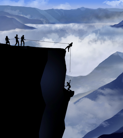 Teamwork to overcome challenges is illustrated here with a view of people making a mountain rescue with ropes and courage. This is an illustration.