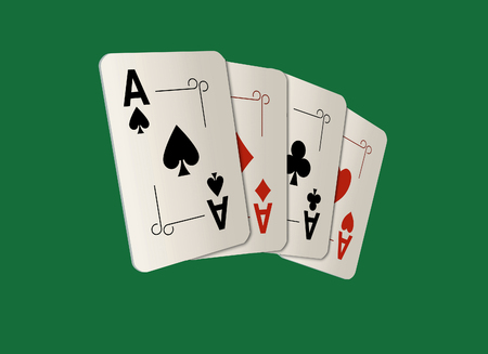Here are four ace playing cards. A winning poker hand. This is an illustration. Standard-Bild - 115343043