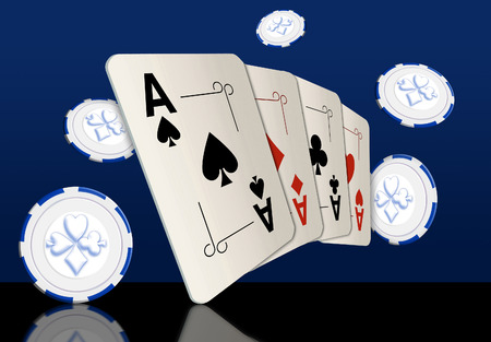 Here are four ace playing cards. A winning poker hand. This is an illustration. Standard-Bild - 115343044