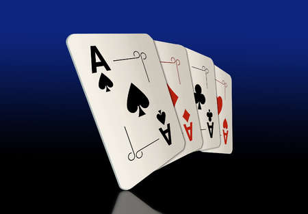 Here are four ace playing cards. A winning poker hand. This is an illustration. Foto de archivo - 115343047