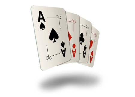 Here are four ace playing cards. A winning poker hand. This is an illustration. Foto de archivo - 115343049