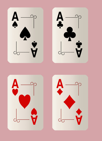 Here are four ace playing cards. A winning poker hand. This is an illustration. Standard-Bild - 115343050