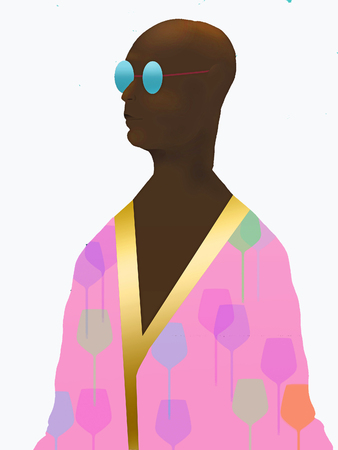 Here is an African American person in a robe that is beachwear. This is an illustration. 写真素材
