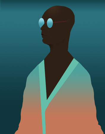 Here is an African American person in a robe that is beachwear. This is an illustration. Reklamní fotografie