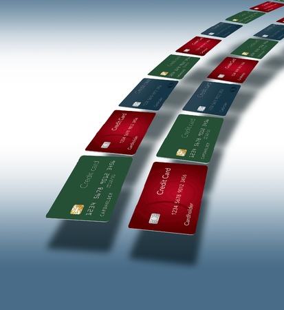 Credit cards arc across page and is surrounded with space for text or other design elements. This is an illustration.