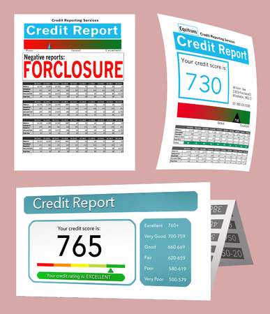 Three generic credit reports for use as a graphic resource are seen here. This is an illustration.