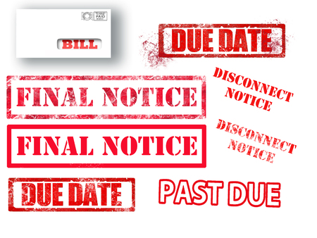 Red letters rubber stamped with dreaded billing information are seen in these graphic resources. This is an illustration. Stock Photo